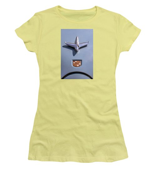 Women's T-Shirt (Junior Cut) featuring the photograph 1951 Studebaker Champion Hood Ornament by Betty Denise