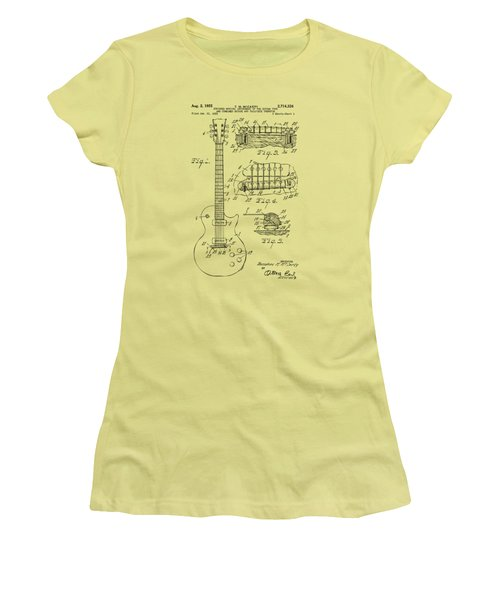 Women's T-Shirt (Junior Cut) featuring the drawing 1955 Mccarty Gibson Les Paul Guitar Patent Artwork Vintage by Nikki Marie Smith