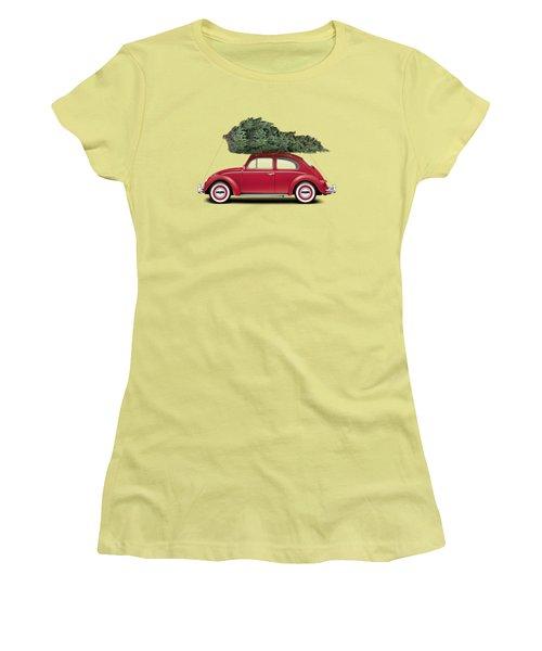 1962 Volkswagen Deluxe Sedan - Ruby Red W/ Christmas Tree Women's T-Shirt (Junior Cut) by Ed Jackson