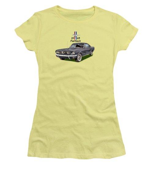Mustang Fastback 1965 Women's T-Shirt (Junior Cut) by Jack Pumphrey