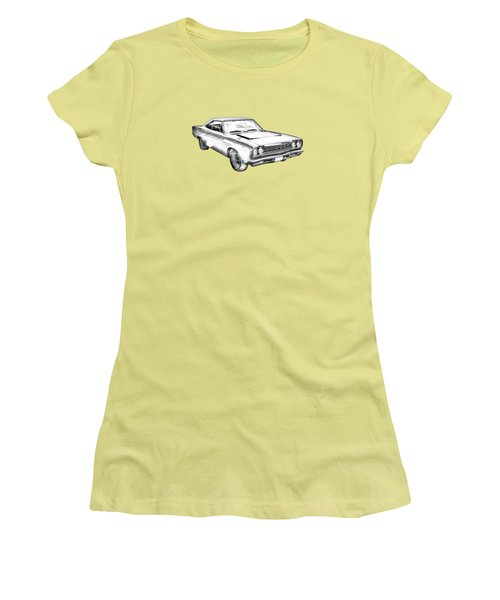 1968 Plymouth Roadrunner Muscle Car Illustration Women's T-Shirt (Junior Cut) by Keith Webber Jr