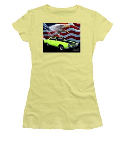 1969 Plymouth Road Runner Tribute Women's T-Shirt (Junior Cut) by Peter Piatt
