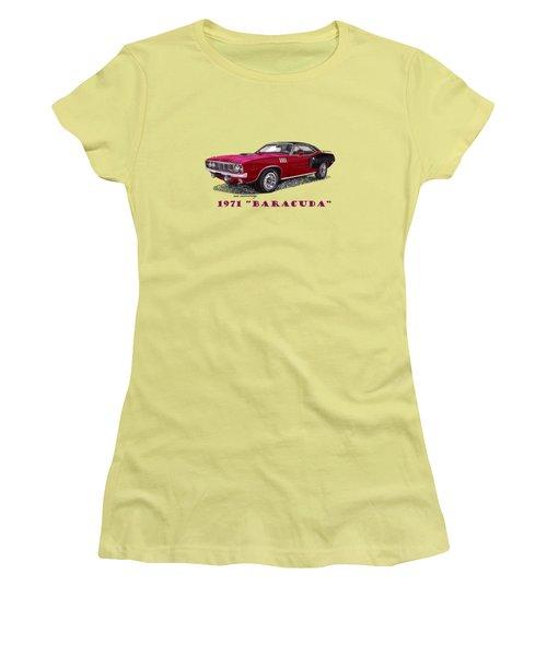 1971 Plymouth Barracuda Women's T-Shirt (Junior Cut) by Jack Pumphrey