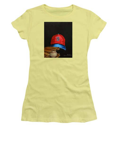 Women's T-Shirt (Junior Cut) featuring the painting 1975 Red Sox by Susan Roberts