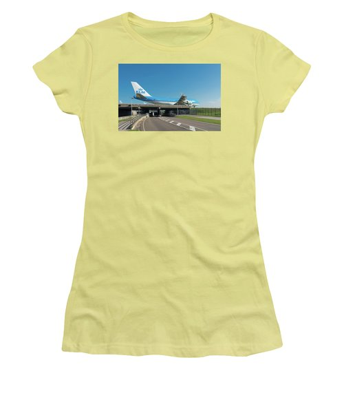 Airplane Over Highway Women's T-Shirt (Junior Cut) by Hans Engbers