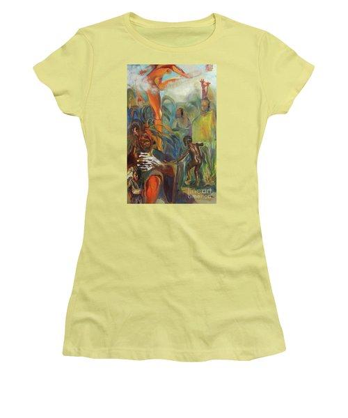 Women's T-Shirt (Junior Cut) featuring the mixed media Ancestor Dance by Daun Soden-Greene