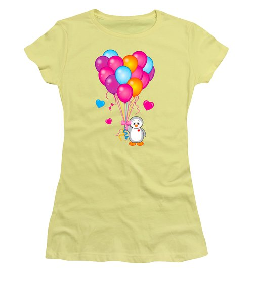Baby Penguin With Heart Balloons Women's T-Shirt (Junior Cut) by A
