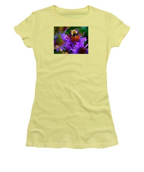 Bee On Purple Flower Women's T-Shirt (Junior Cut) by Andre Faubert