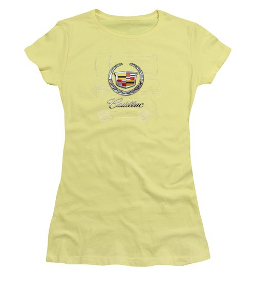 Cadillac 3 D Badge Over Cadillac Escalade Blueprint  Women's T-Shirt (Junior Cut) by Serge Averbukh
