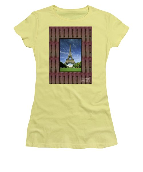 Women's T-Shirt (Athletic Fit) featuring the photograph Effel Tower Paris France Landmark Photography Towels Pillows Curtains Tote Bags by Navin Joshi