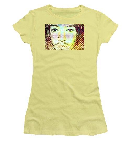 Women's T-Shirt (Junior Cut) featuring the mixed media Ezra Miller by Svelby Art