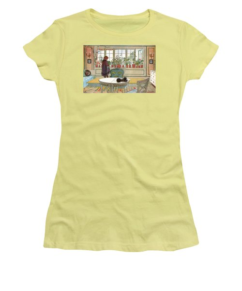 Flowers On The Windowsill Women's T-Shirt (Athletic Fit)