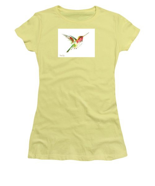 Flying Hummingbird Women's T-Shirt (Junior Cut) by Suren Nersisyan