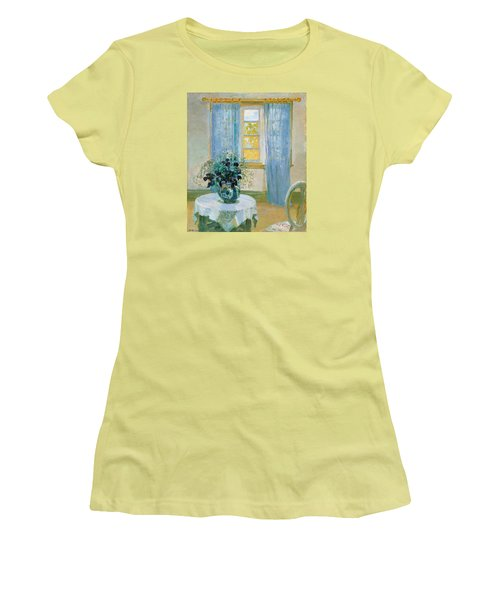 Interior With Clematis Women's T-Shirt (Junior Cut) by Anna Ancher