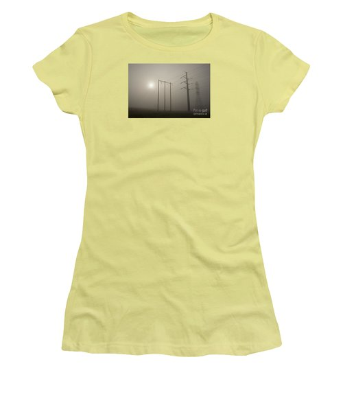Large Transmission Towers In Fog Women's T-Shirt (Athletic Fit)
