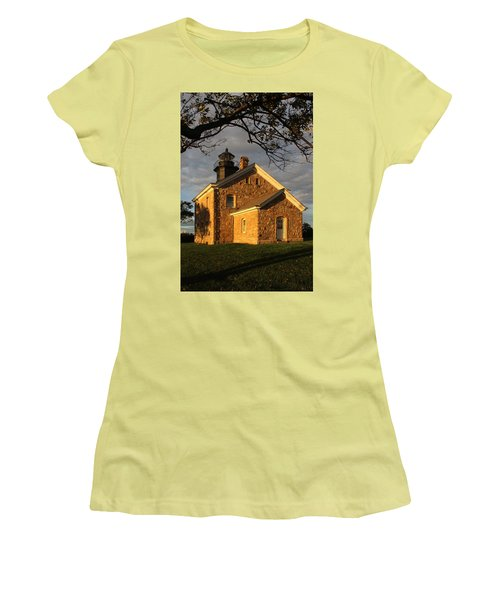 Lighthouse Old Field Point New York Women's T-Shirt (Junior Cut) by Bob Savage