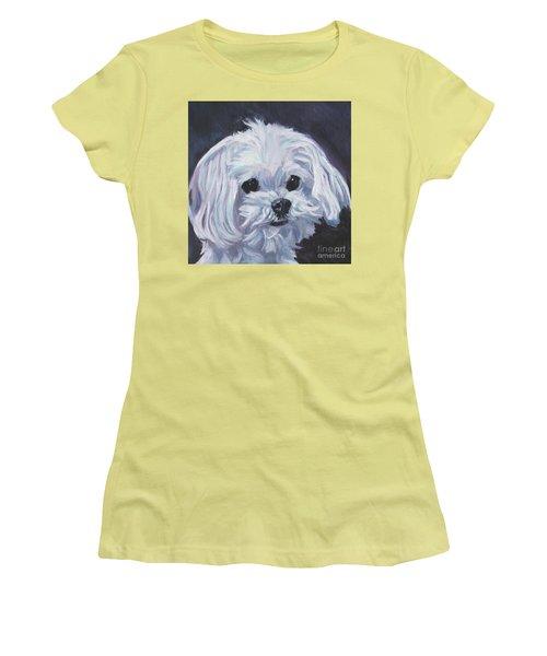 Women's T-Shirt (Junior Cut) featuring the painting Maltese by Lee Ann Shepard
