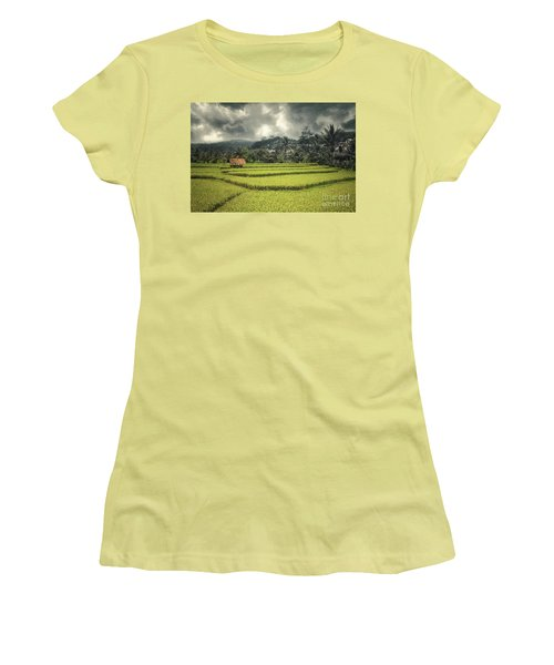 Women's T-Shirt (Junior Cut) featuring the photograph Paddy Field by Charuhas Images