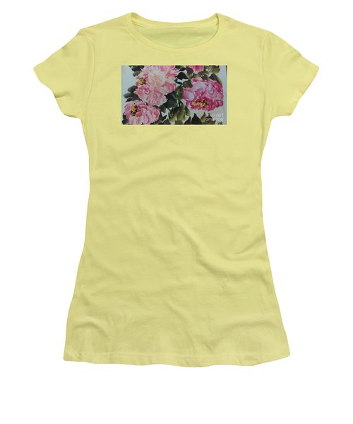 Women's T-Shirt (Junior Cut) featuring the painting Peoney20161229_6 by Dongling Sun