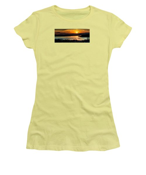 Sunset Over Hail Passage On The Puget Sound Women's T-Shirt (Junior Cut) by Rob Green