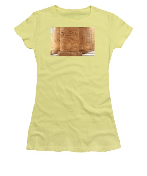 Women's T-Shirt (Athletic Fit) featuring the photograph Temple Of Karnak by Silvia Bruno