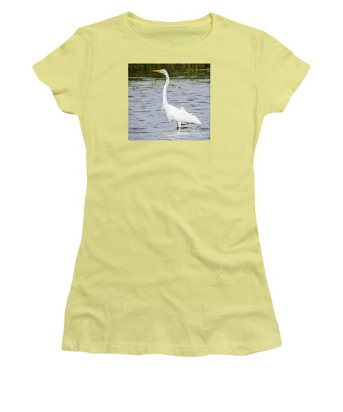 Women's T-Shirt (Junior Cut) featuring the photograph The Great White Egret by Ricky L Jones