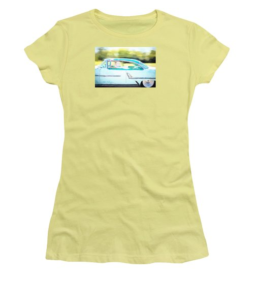 Vintage Val In The Turquoise Vintage Car Women's T-Shirt (Junior Cut) by Jill Wellington