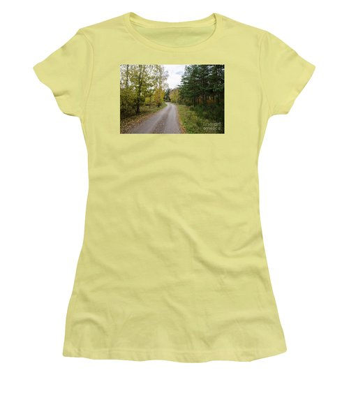 Women's T-Shirt (Athletic Fit) featuring the photograph Winding Gravel Road by Kennerth and Birgitta Kullman