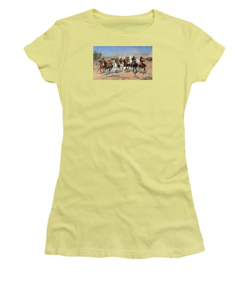 A Dash For The Timber Women's T-Shirt (Junior Cut) by Frederic Remington