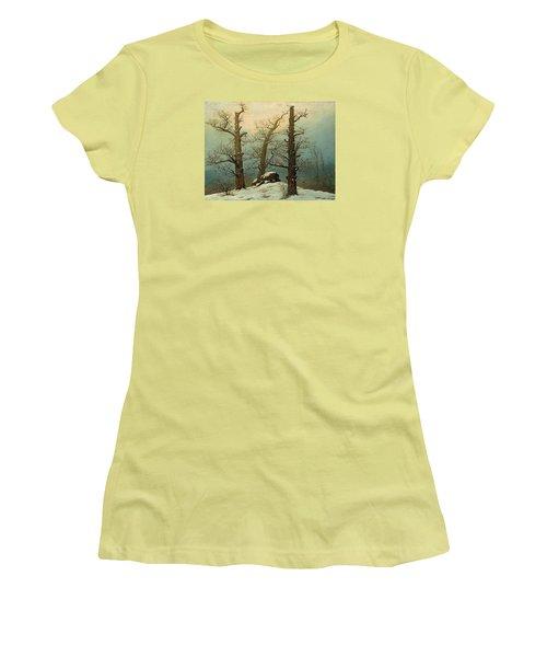 Cairn In Snow Women's T-Shirt (Junior Cut) by Caspar David Friedrich