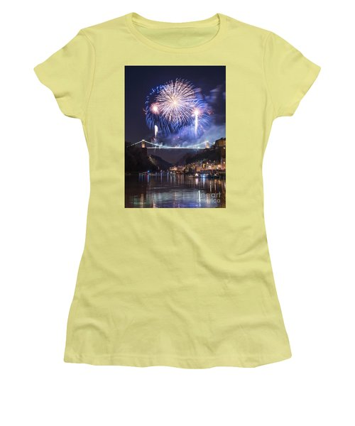 Clifton Suspension Bridge Fireworks Women's T-Shirt (Junior Cut) by Colin Rayner