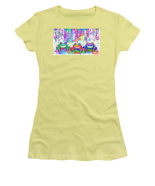 Women's T-Shirt (Junior Cut) featuring the painting 3 Colorful Painted Frogs by Nick Gustafson