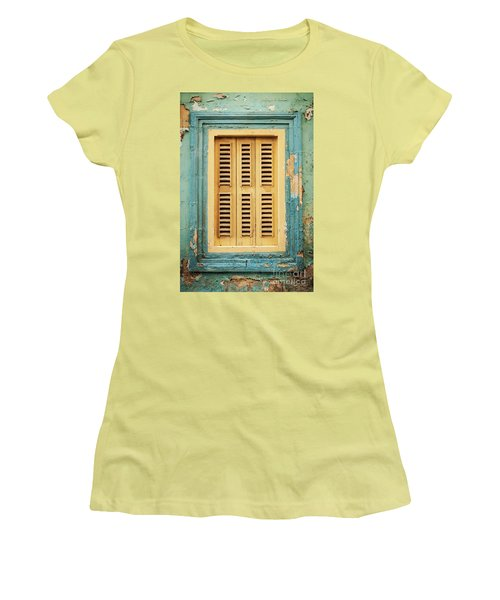 Traditional House Window Architecture Detail La Valletta Old Tow Women's T-Shirt (Athletic Fit)
