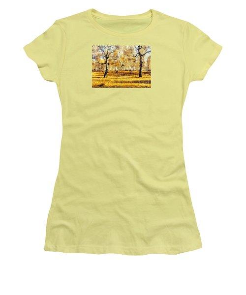 Watercolor Landscape Autumn Painting Forest Women's T-Shirt (Junior Cut) by Odon Czintos