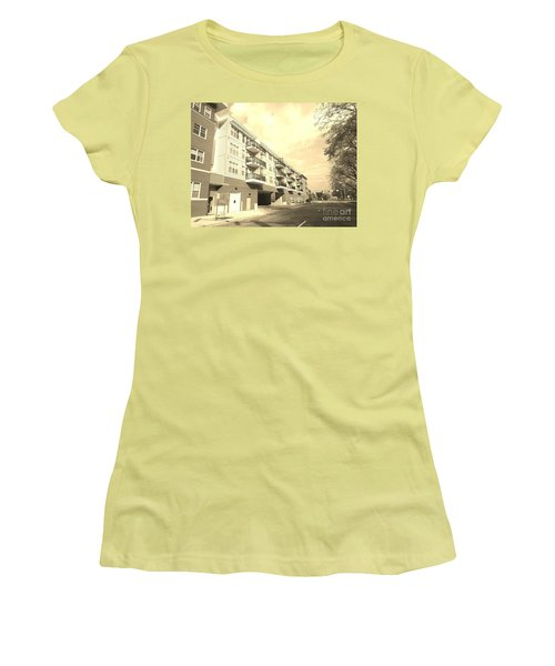 3rd Street Columbus Indiana - Sepia Women's T-Shirt (Junior Cut) by Scott D Van Osdol