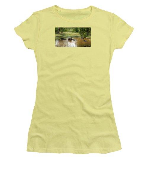 Women's T-Shirt (Junior Cut) featuring the photograph Buffalos by Christian Zesewitz