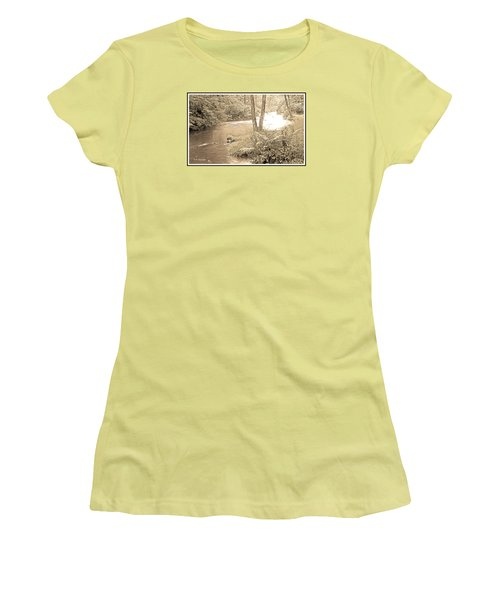 Women's T-Shirt (Junior Cut) featuring the photograph Mud Run Pocono Mountain Stream Pennsylvania by A Gurmankin