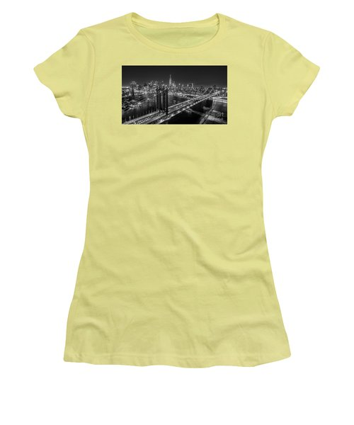 New York City, Manhattan Bridge At Night Women's T-Shirt (Athletic Fit)