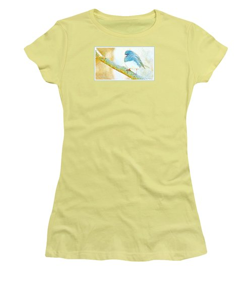 Women's T-Shirt (Junior Cut) featuring the digital art Slate Colored Junco Snowbird Male Animal Portrait by A Gurmankin