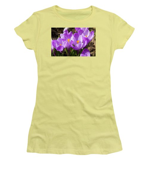 Purple Crocuses Women's T-Shirt (Junior Cut) by Irina Afonskaya