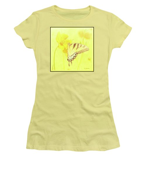 Tiger Swallowtail Butterfly On Cosmos Flower Women's T-Shirt (Athletic Fit)
