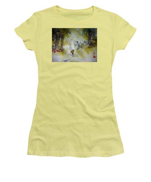 Italy Love Life And Linguini Album Women's T-Shirt (Junior Cut) by Debbi Saccomanno Chan