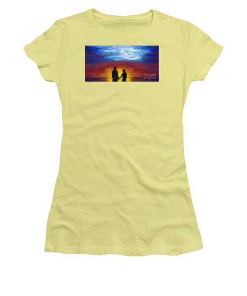 Women's T-Shirt (Athletic Fit) featuring the painting A Captivating Love by Leslie Allen