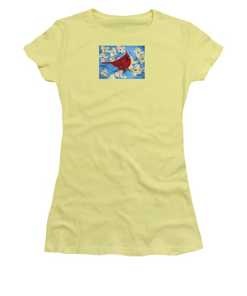 Women's T-Shirt (Junior Cut) featuring the painting A Cardinal Spring by Angela Davies