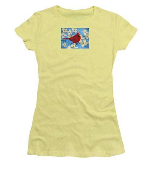 A Cardinal Spring Women's T-Shirt (Junior Cut) by Angela Davies