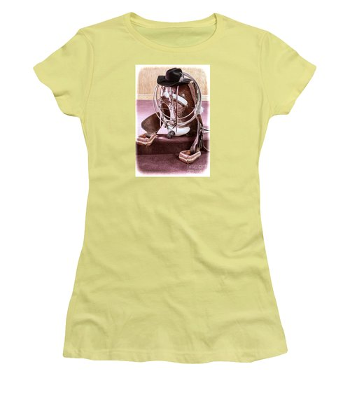 Women's T-Shirt (Junior Cut) featuring the photograph A Cowgirl's Gear by Lawrence Burry
