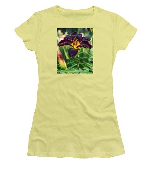 Women's T-Shirt (Junior Cut) featuring the photograph A Dark Purple Tiger Lilly by B Wayne Mullins