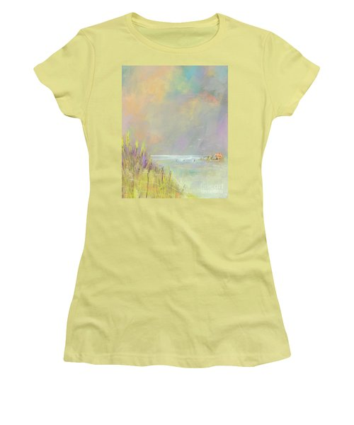 Women's T-Shirt (Junior Cut) featuring the painting A Day At The Beach by Frances Marino
