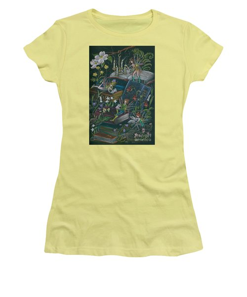 Women's T-Shirt (Junior Cut) featuring the drawing A Little Light To Read By by Dawn Fairies