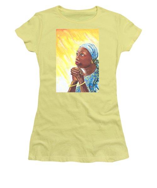 A Mothers Prayer Women's T-Shirt (Junior Cut) by Emmanuel Baliyanga